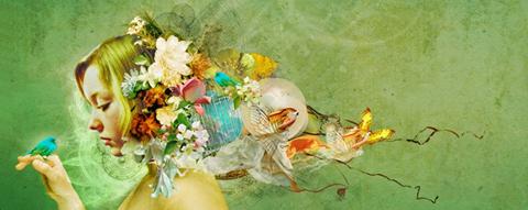 Iet Wouda's portret in groen